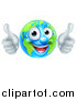 Vector Illustration of a Happy Globe Mascot Giving Two Thumbs up by AtStockIllustration