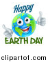 Vector Illustration of a Happy Globe Mascot Giving Two Thumbs Up, with Happy Earth Day Text by AtStockIllustration