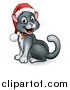 Vector Illustration of a Happy Gray Cat Wearing a Christmas Santa Hat by AtStockIllustration
