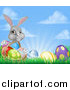 Vector Illustration of a Happy Gray Easter Bunny with a Basket of Eggs and Flowers in the Grass, Against Sky by AtStockIllustration