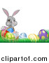 Vector Illustration of a Happy Gray Easter Bunny with a Basket of Eggs and Flowers in the Grass, with White Text Space by AtStockIllustration