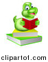 Vector Illustration of a Happy Green Earthworm Reading a Book on a Stack by AtStockIllustration
