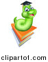 Vector Illustration of a Happy Green Professor Earthworm on a Stack of Books by AtStockIllustration