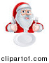 Vector Illustration of a Happy Hungry Christmas Santa Claus Sitting with a Clean Plate and Holding Silverware by AtStockIllustration