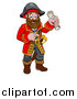 Vector Illustration of a Happy Male Pirate Captain Holding a Treasure Map and Pointing by AtStockIllustration