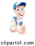 Vector Illustration of a Happy Middle Aged Brunette Caucasian Mechanic Man in Blue, Wearing a Baseball Cap, Giving a Thumb up Around a Sign by AtStockIllustration