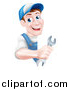 Vector Illustration of a Happy Middle Aged Brunette Caucasian Mechanic Man in Blue, Wearing a Baseball Cap, Holding a Wrench Around a Sign by AtStockIllustration
