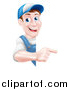 Vector Illustration of a Happy Middle Aged Brunette Caucasian Mechanic Man in Blue, Wearing a Baseball Cap, Pointing Around a Sign by AtStockIllustration