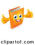 Vector Illustration of a Happy Orange Book Character Giving Two Thumbs up by AtStockIllustration