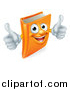 Vector Illustration of a Happy Orange Book Character Smiling and Holding Two Thumbs up by AtStockIllustration