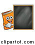 Vector Illustration of a Happy Orange Book Mascot Pointing Around a Black Board by AtStockIllustration