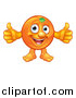 Vector Illustration of a Happy Orange Mascot Giving Two Thumbs up by AtStockIllustration