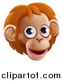 Vector Illustration of a Happy Orangutan Face Avatar by AtStockIllustration