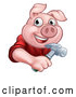 Vector Illustration of a Happy Pig Mascot Carpenter Holding a Hammer by AtStockIllustration