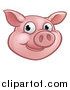 Vector Illustration of a Happy Pig Mascot Face by AtStockIllustration