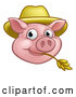Vector Illustration of a Happy Pig Mascot Face Wearing a Straw Hat and Chewing on Straw by AtStockIllustration