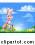 Vector Illustration of a Happy Pink Easter Bunny with a Basket of Eggs and Flowers in the Grass, Against a Blue Sky by AtStockIllustration