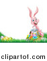 Vector Illustration of a Happy Pink Easter Bunny with a Basket of Eggs and Flowers in the Grass, with White Text Space by AtStockIllustration