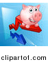 Vector Illustration of a Happy Pink Piggy Bank Riding a Growth Stock Market Arrow by AtStockIllustration