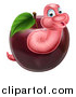 Vector Illustration of a Happy Pink Worm Emerging from a Red Apple by AtStockIllustration