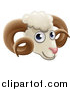 Vector Illustration of a Happy Ram Face Avatar by AtStockIllustration