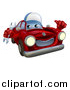 Vector Illustration of a Happy Red Car Character Wearing a Baseball Cap, Holding a Wrench and Thumb up by AtStockIllustration