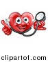 Vector Illustration of a Happy Red Love Heart Character with a Stethoscope, Giving a Thumb up by AtStockIllustration