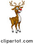 Vector Illustration of a Happy Red Nosed Reindeer by AtStockIllustration