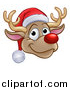 Vector Illustration of a Happy Red Nosed Reindeer Face Wearing a Christmas Santa Hat by AtStockIllustration