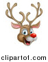 Vector Illustration of a Happy Rudolph Red Nosed Reindeer Face by AtStockIllustration
