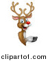 Vector Illustration of a Happy Rudolph Red Nosed Reindeer Pointing Around a Sign by AtStockIllustration