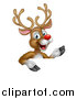 Vector Illustration of a Happy Rudolph Red Nosed Reindeer Pointing over a Sign by AtStockIllustration