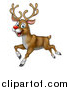 Vector Illustration of a Happy Rudolph Red Nosed Reindeer Running or Flying by AtStockIllustration