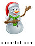 Vector Illustration of a Happy Snowman Wearing a Christmas Santa Hat and Pointing by AtStockIllustration