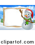 Vector Illustration of a Happy Snowman Wearing a Christmas Santa Hat and Pointing to a Blank Sign in a Winter Landscape by AtStockIllustration