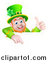 Vector Illustration of a Happy St Patricks Day Leprechaun Giving a Thumb up and Pointing down over a Sign by AtStockIllustration