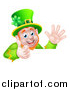 Vector Illustration of a Happy St Patricks Day Leprechaun Giving a Thumb up and Waving over a Sign by AtStockIllustration