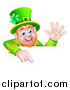 Vector Illustration of a Happy St Patricks Day Leprechaun Waving and Pointing down over a Sign by AtStockIllustration