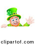 Vector Illustration of a Happy St Patricks Day Leprechaun Waving over a Sign by AtStockIllustration