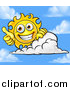 Vector Illustration of a Happy Sun Mascot Giving a Thumb up over a Cloud by AtStockIllustration