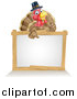Vector Illustration of a Happy Thanksgiving Pilgrim Turkey Bird Giving a Thumb up over a Blank White Board Sign by AtStockIllustration