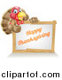 Vector Illustration of a Happy Thanksgiving Turkey Bird Giving a Thumb up over a Greeting Board Sign by AtStockIllustration