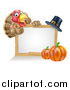 Vector Illustration of a Happy Thanksgiving Turkey Bird Giving a Thumb up over a Pumpkin, Blank White Board Sign and Pilgrim Hat by AtStockIllustration