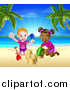 Vector Illustration of a Happy White and Black Girls Playing and Making Sand Castles on a Tropical Beach by AtStockIllustration