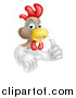 Vector Illustration of a Happy White and Brown Chicken or Rooster Giving a Thumb up by AtStockIllustration