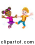 Vector Illustration of a Happy White Boy and Black Girl Dancing by AtStockIllustration