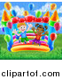 Vector Illustration of a Happy White Boy and Black Girl Jumping on a Bouncy House Castle with Party Balloons in a Park by AtStockIllustration