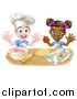 Vector Illustration of a Happy White Boy and Black Girl Making Making Star Cookies and Frosting by AtStockIllustration