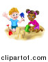 Vector Illustration of a Happy White Boy and Black Girl Making Sand Castles on a Beach by AtStockIllustration