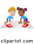 Vector Illustration of a Happy White Boy and Black Girl Playing with Toy Cars by AtStockIllustration